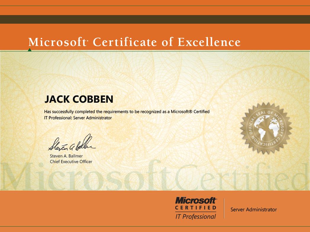 Microsoft Certificates Jacks Server Blog
